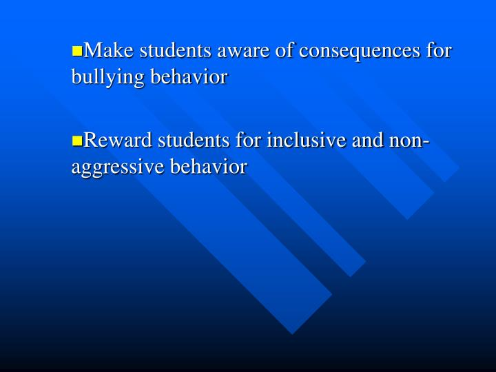 Make students aware of consequences for bullying behavior