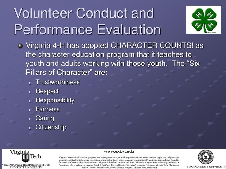 Volunteer Conduct and Performance Evaluation