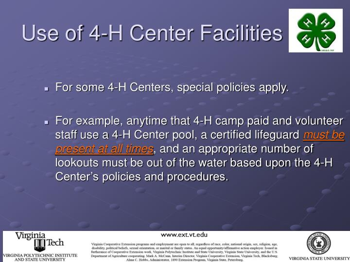 Use of 4-H Center Facilities