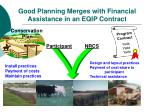 good planning merges with financial assistance in an eqip contract
