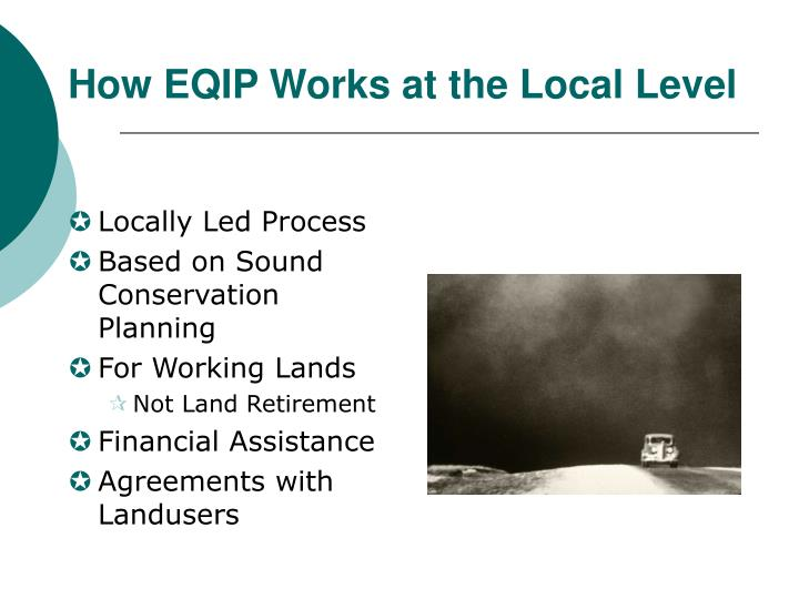 How EQIP Works at the Local Level
