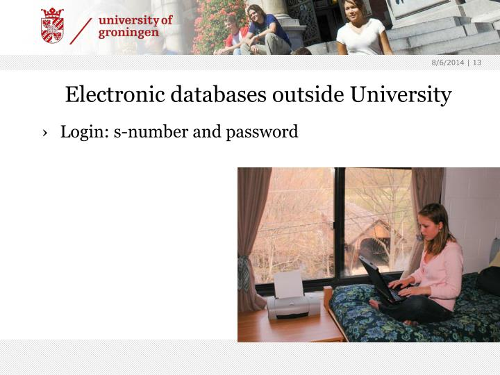 Electronic databases outside University
