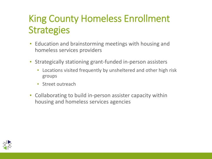 King County Homeless Enrollment Strategies