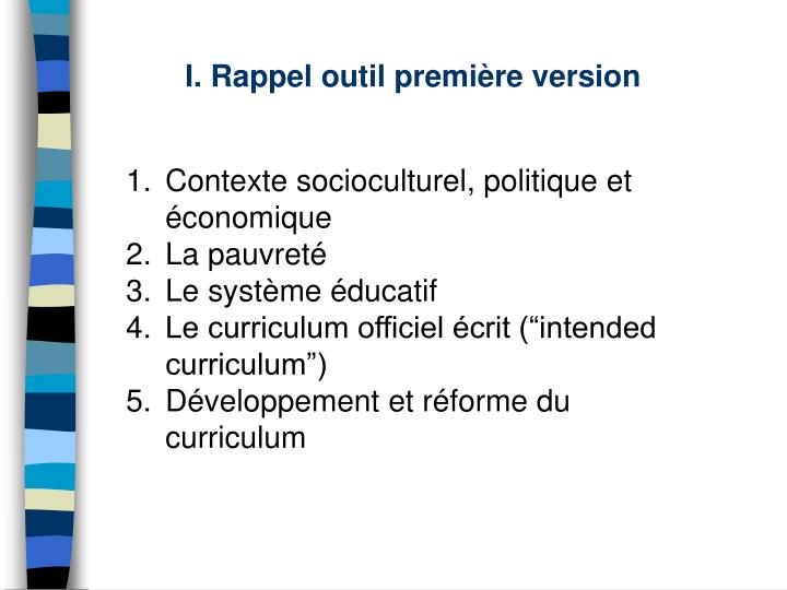 I rappel outil premi re version
