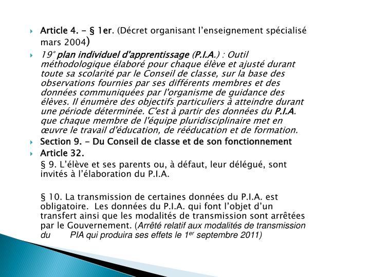 Article 4. - § 1er