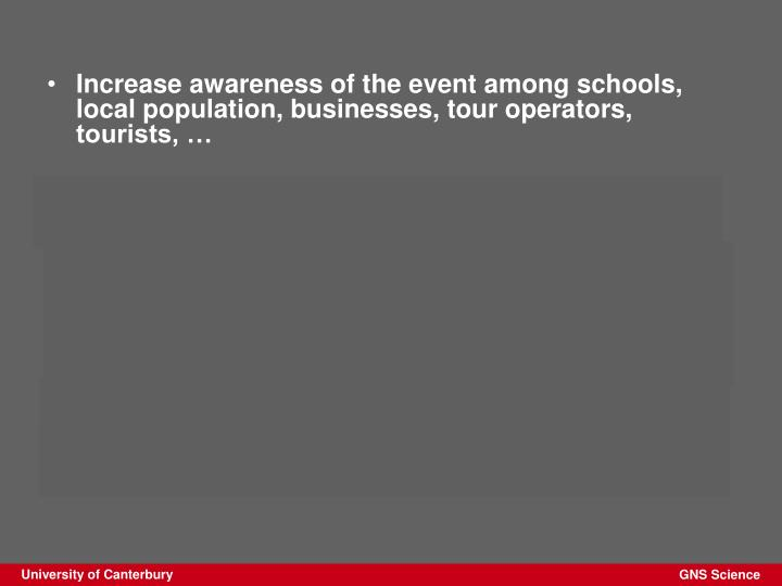 Increase awareness of the event among schools, local population, businesses, tour operators, tourists, …