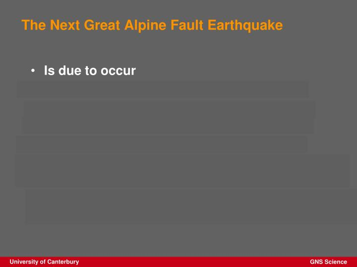 The Next Great Alpine Fault Earthquake