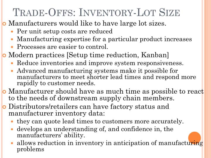 Trade-Offs: Inventory-Lot Size
