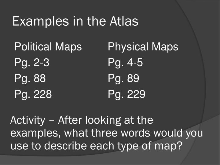 Examples in the Atlas