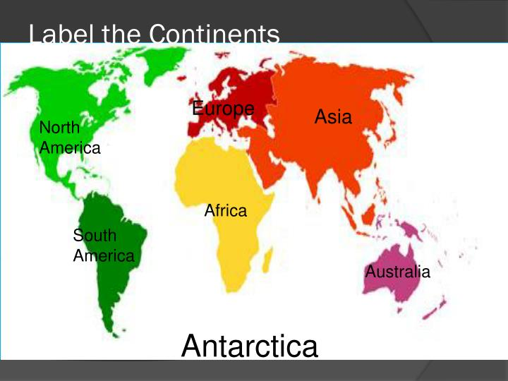 Label the Continents