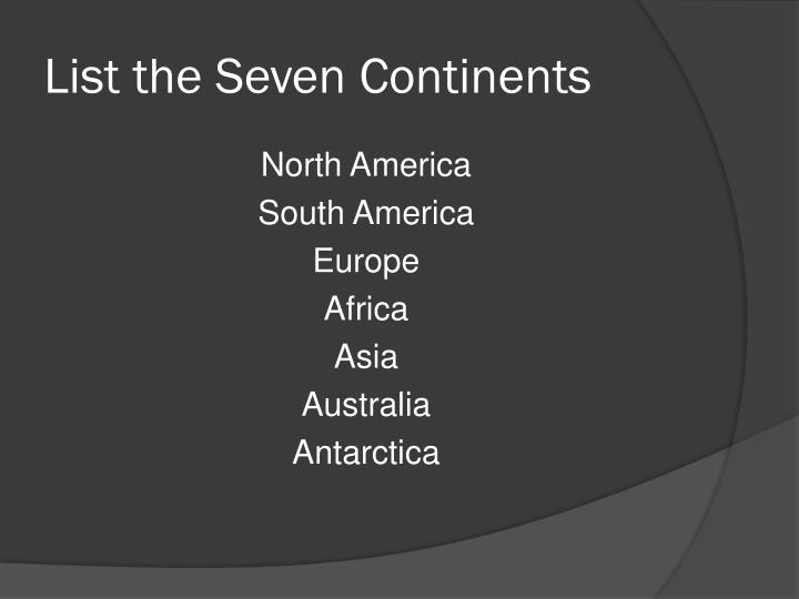 List the Seven Continents