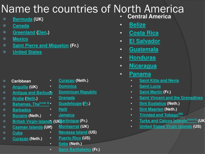 Name the countries of North America