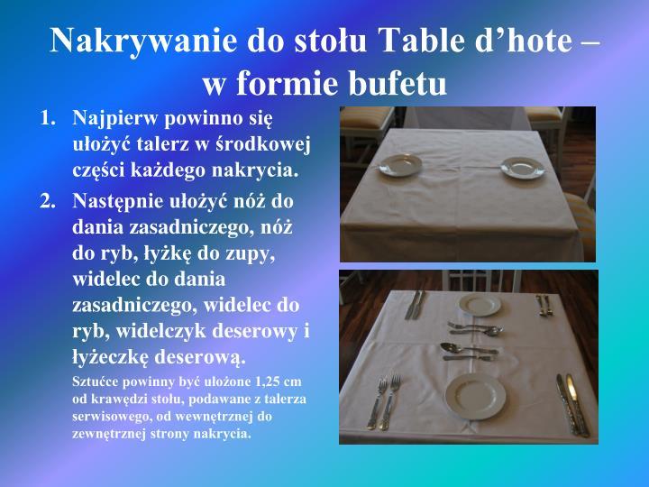 Nakrywanie do stołu Table d'hote –