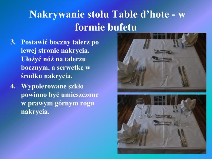 Nakrywanie stołu Table d'hote - w formie bufetu