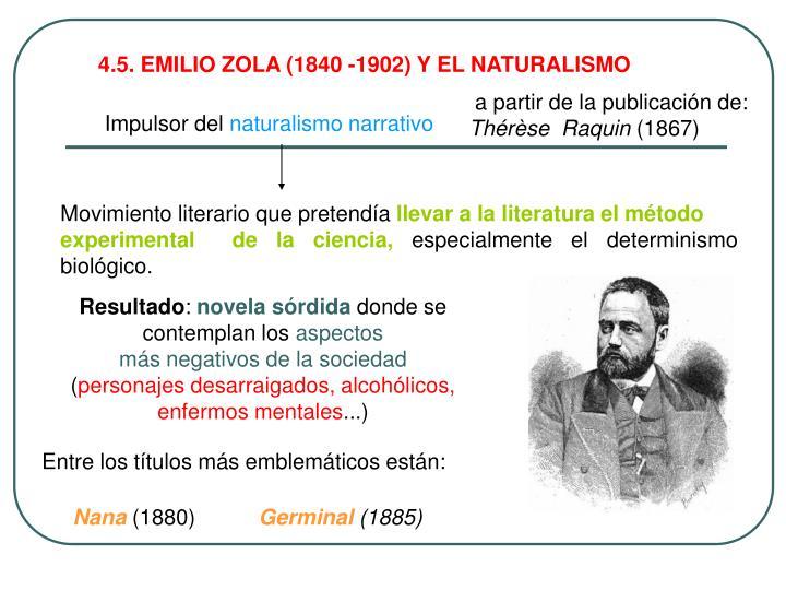 4.5. EMILIO ZOLA (1840 -1902) Y EL NATURALISMO