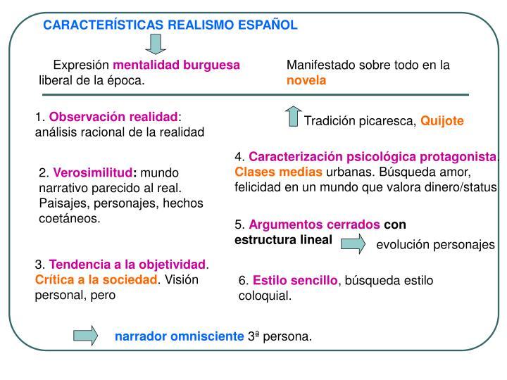 CARACTERÍSTICAS REALISMO ESPAÑOL
