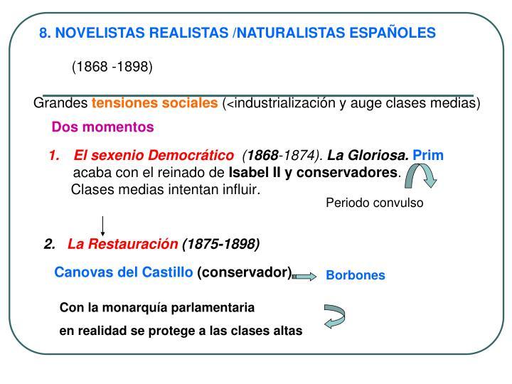 8. NOVELISTAS REALISTAS /NATURALISTAS ESPAÑOLES