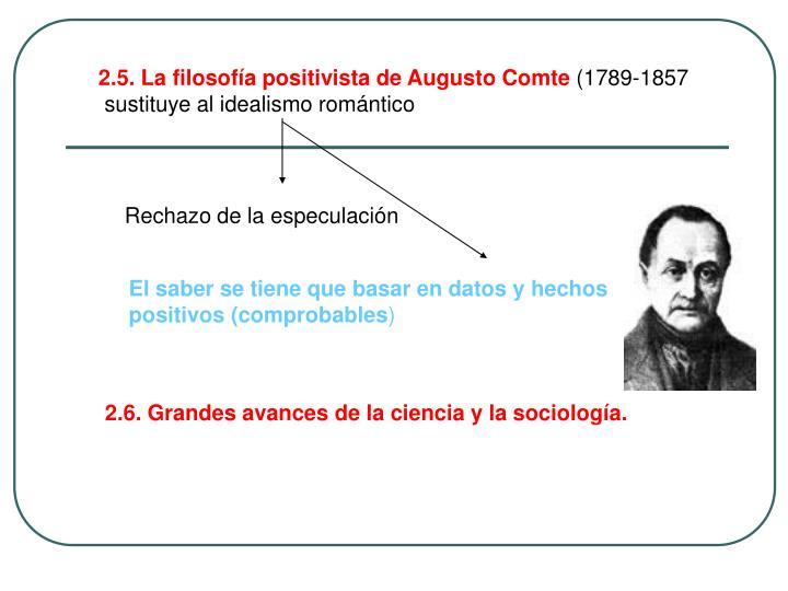 2.5. La filosofía positivista de Augusto Comte