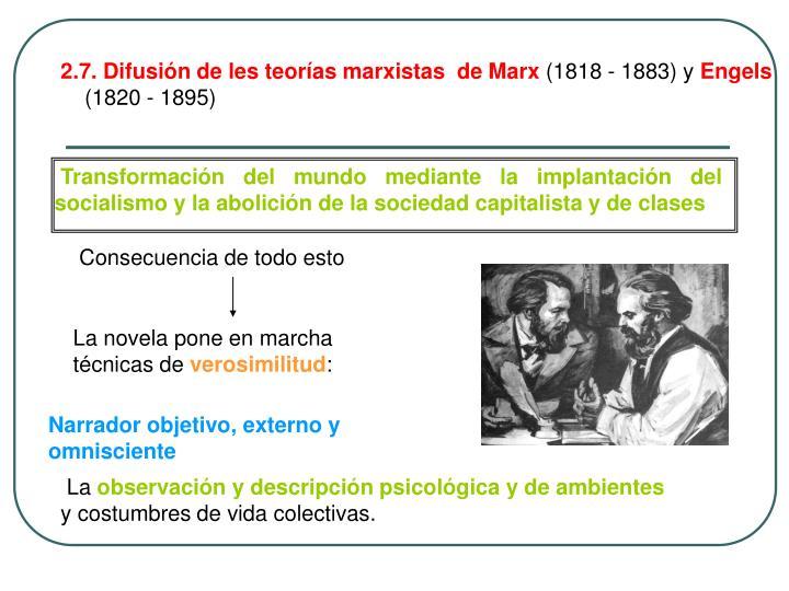 2.7. Difusión de les teorías marxistas  de Marx