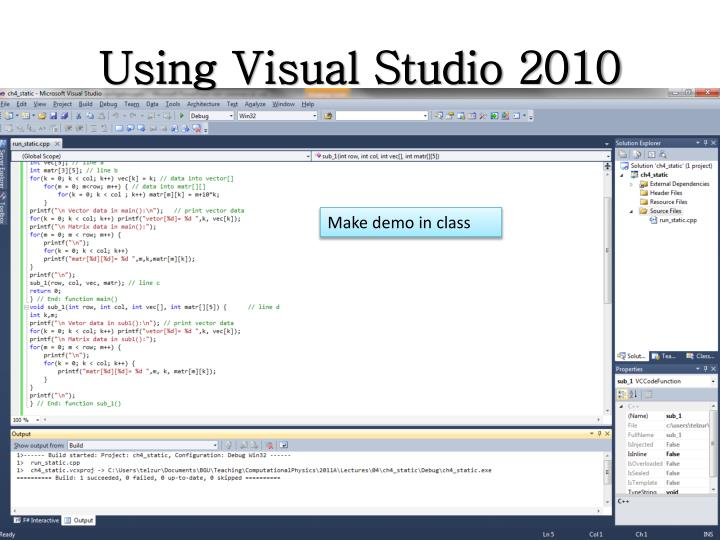Using Visual Studio 2010