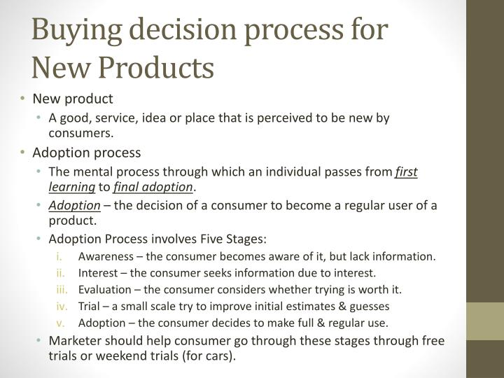 Buying decision process for New Products