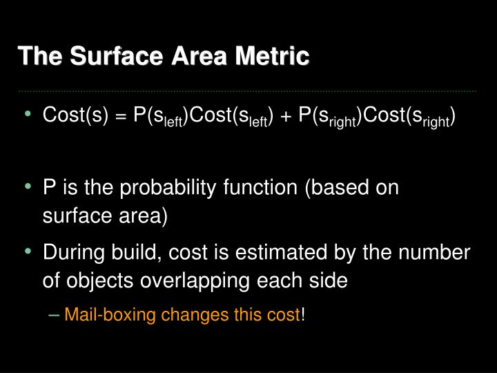 The Surface Area Metric