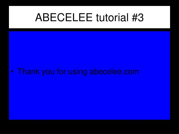 ABECELEE tutorial #3