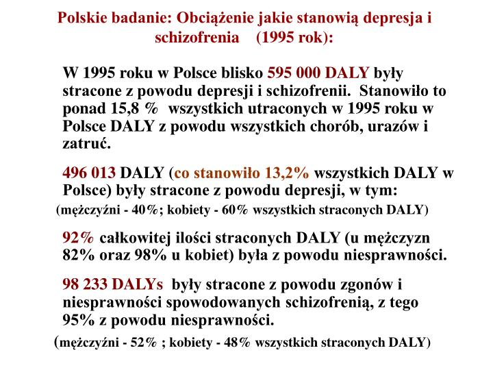 Polskie badanie: Obciążenie jakie stanowią depresja i schizofrenia    (1995 rok):