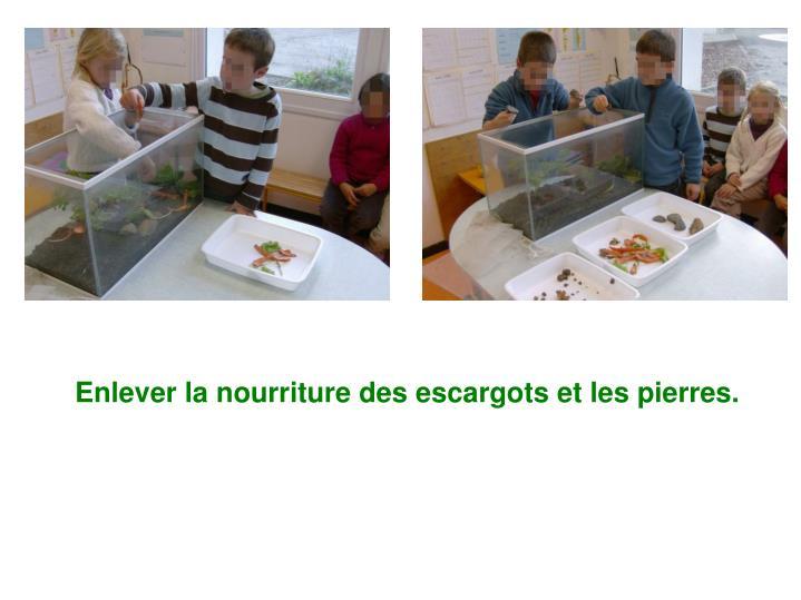 Enlever la nourriture des escargots et les pierres.