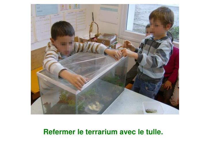 Refermer le terrarium avec le tulle.