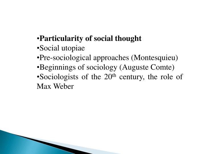Particularity of social thought