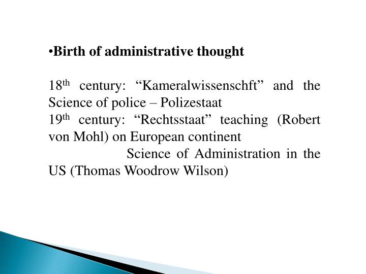 Birth of administrative thought