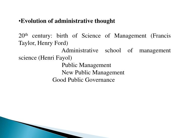 Evolution of administrative thought