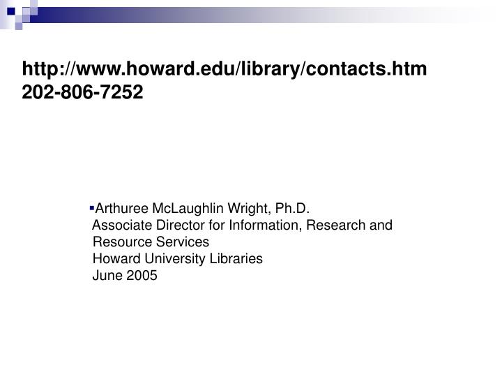 http://www.howard.edu/library/contacts.htm