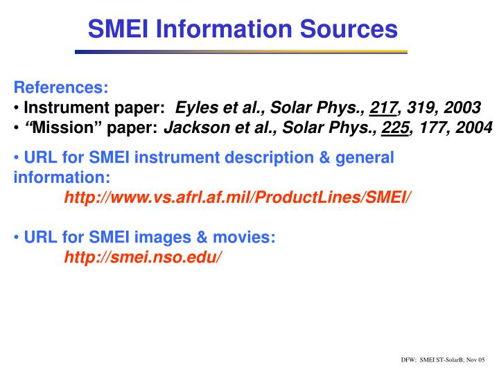 SMEI Information Sources