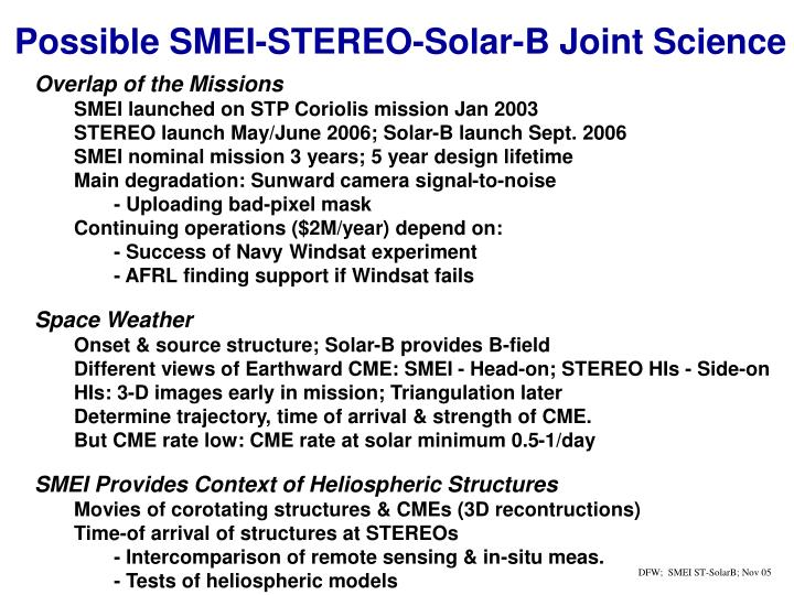 Possible SMEI-STEREO-Solar-B Joint Science