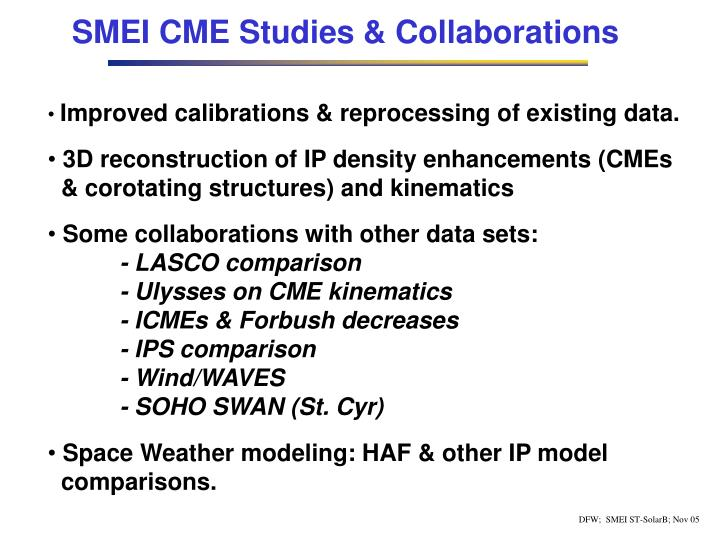 SMEI CME Studies & Collaborations