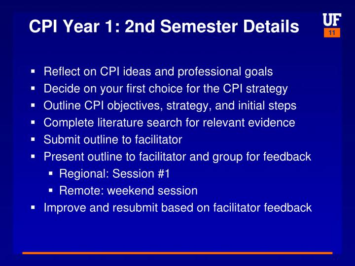 CPI Year 1: 2nd Semester Details