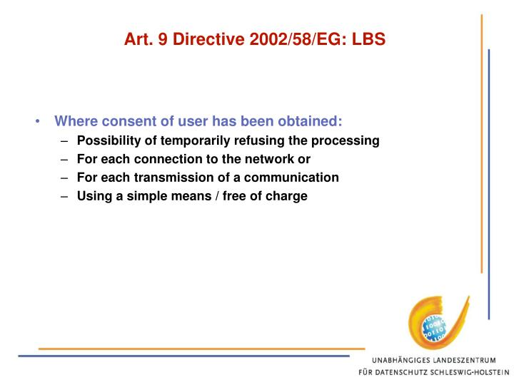 Art. 9 Directive 2002/58/EG: LBS