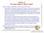 article 14 the data subject s right to object