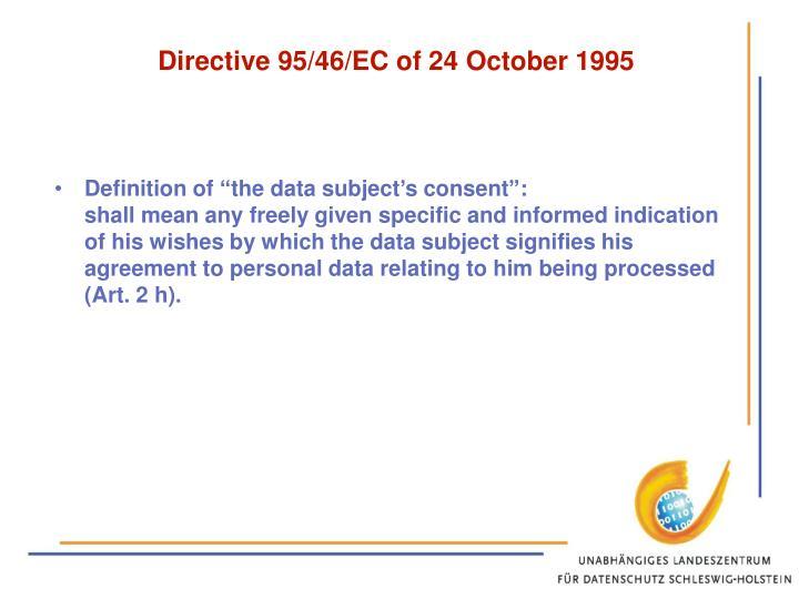 Directive 95/46/EC of 24 October 1995