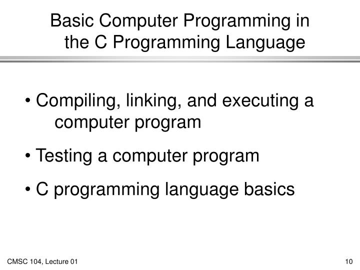 Basic Computer Programming in
