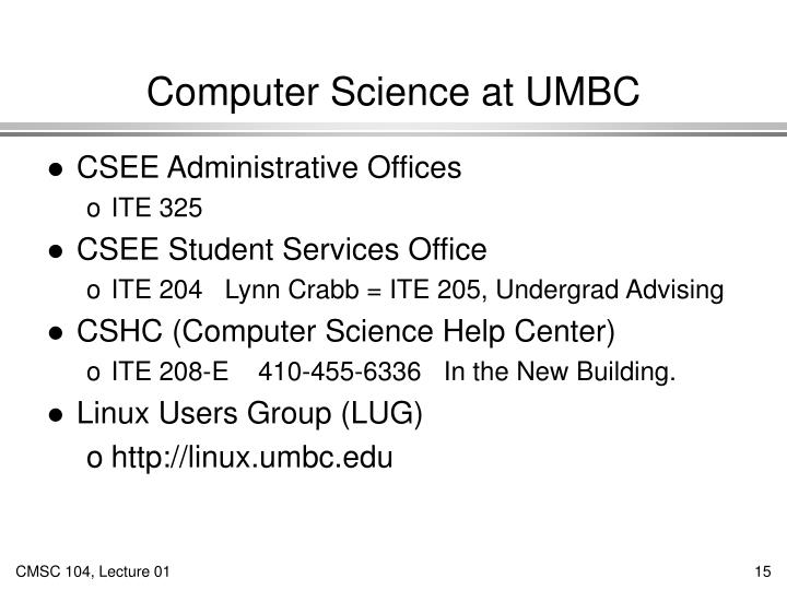 Computer Science at UMBC
