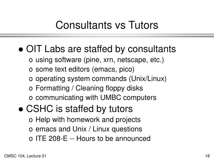 Consultants vs Tutors