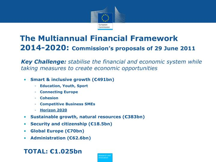 The multiannual financial framework 2014 2020 commission s proposals of 29 june 2011