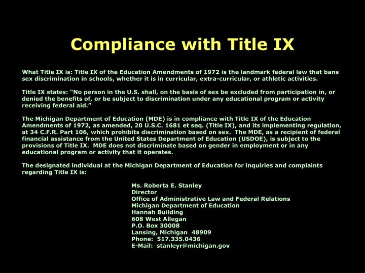 Compliance with Title IX