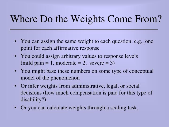 Where Do the Weights Come From?