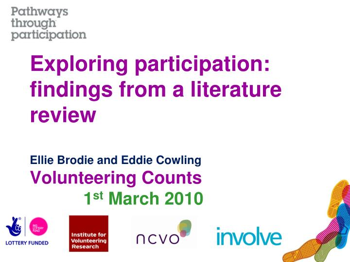 Exploring participation: findings from a literature review