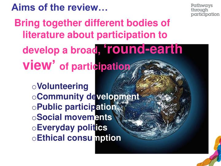 Aims of the review…