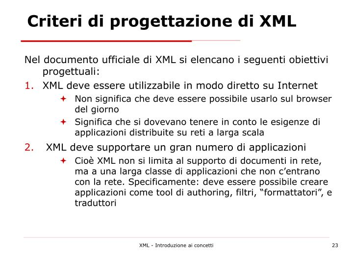 Criteri di progettazione di XML